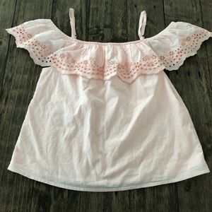 NWT Abercrombie Kids Pink Eyelet Lace Blouse Top